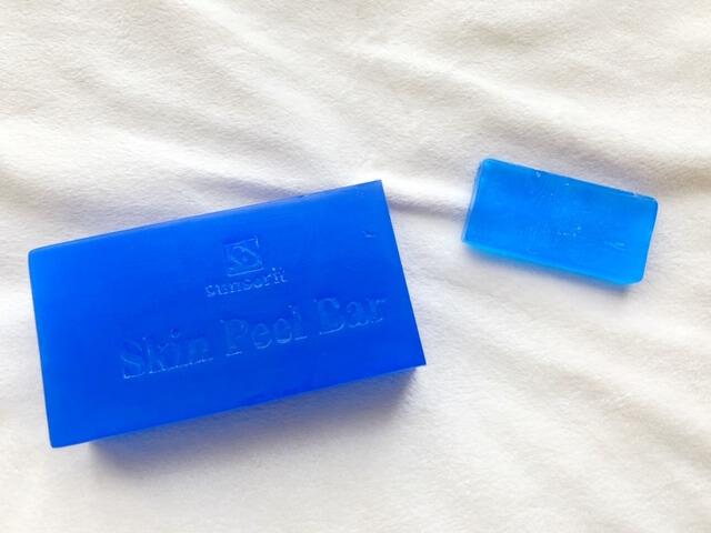 スキンピールバーの青を小さくカット